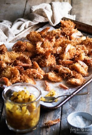 coconut shrimp with pineapple chutney