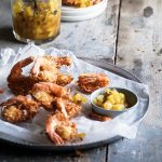 coconut shrimp with pineapple chutney