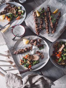 pork souvlaki & fattoush