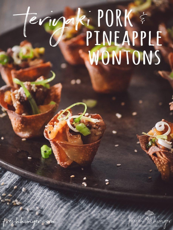 teriyaki pork & pineapple wontons