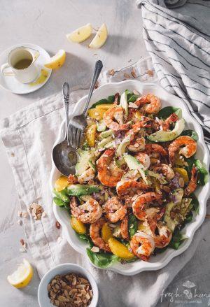grilled citrus shrimp & avocado salad