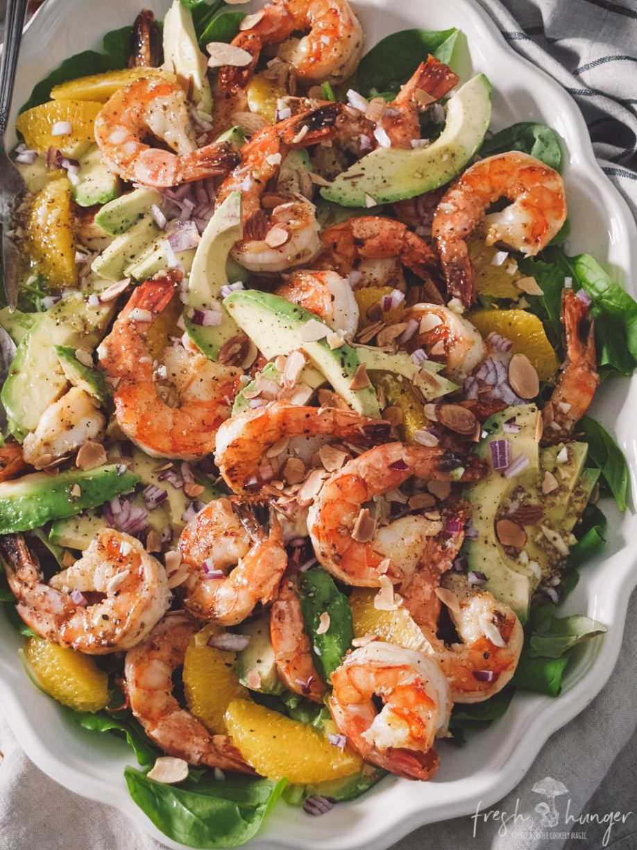 grilled citrus shrimp & avocado salad