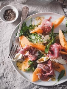 melon & prosciutto with fig vinaigrette