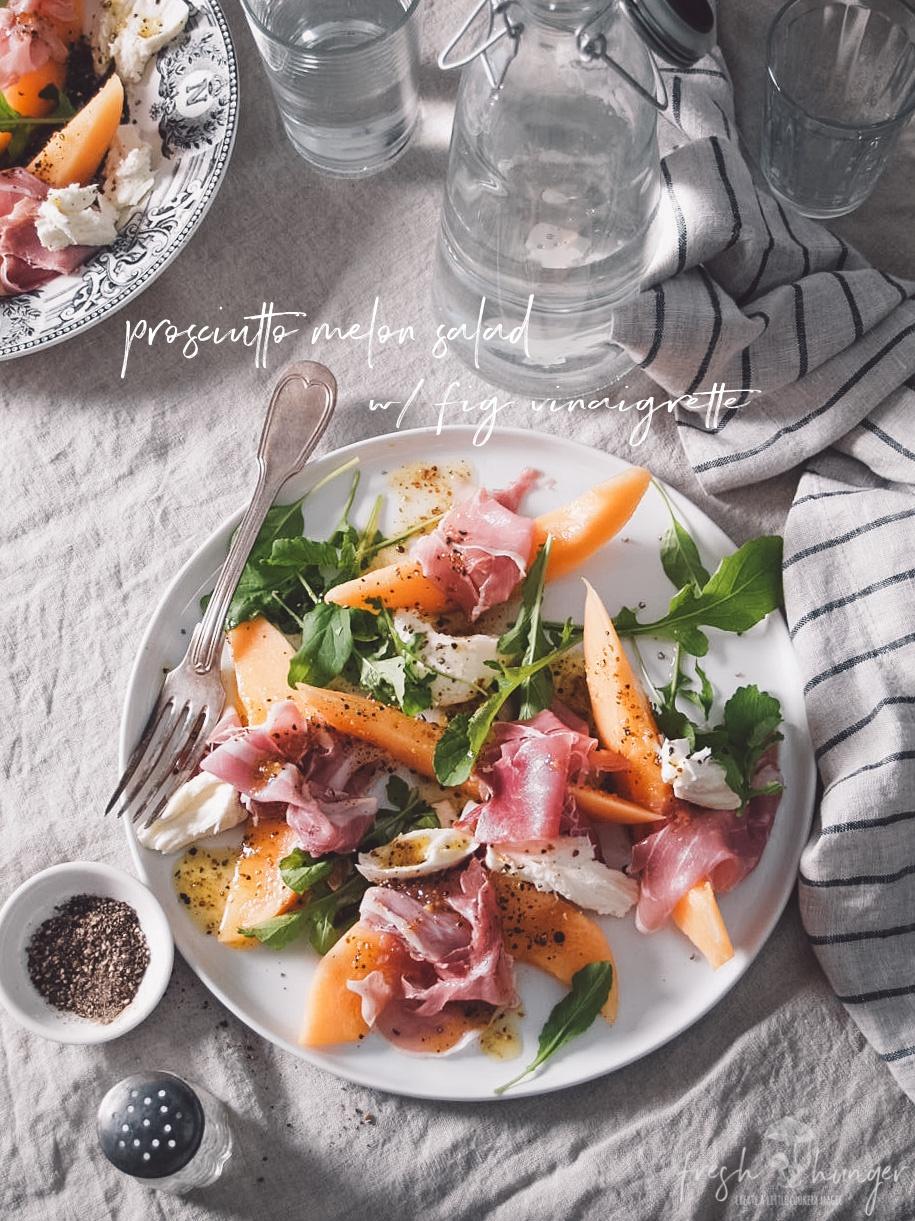 melon & prosciutto with fig vinaigrette