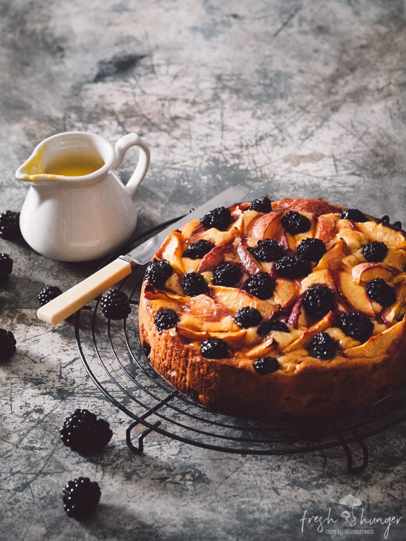 nectarine blackberry yogurt cake