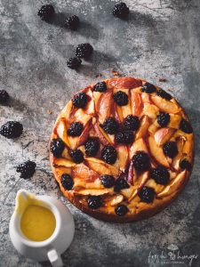 nectarine blackberry yogurt cake