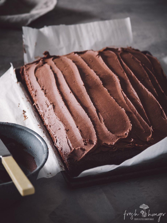 chocolate slab cake with fudge icing