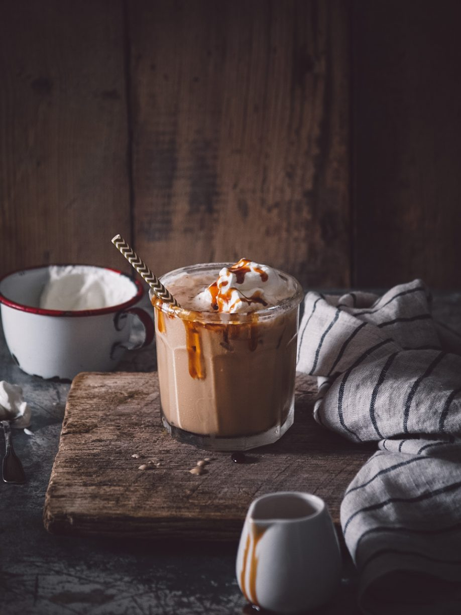 Homemade toffee iced coffee
