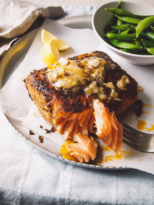 blackened salmon with orange almond butter