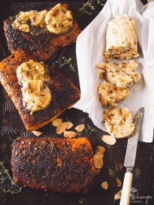blackened salmon with orange almond butter
