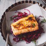 mustard maple salmon & beetkraut