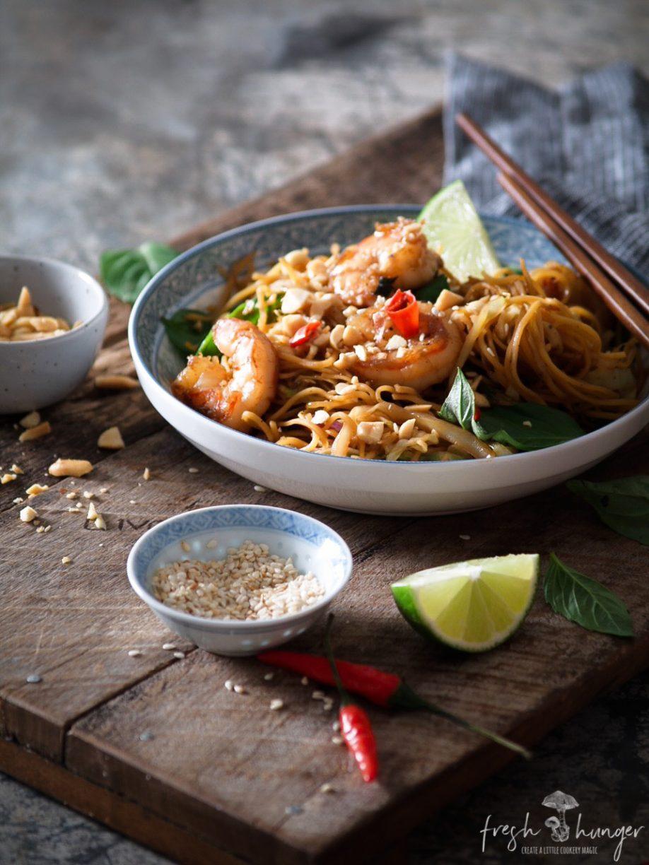 honey chili shrimp noodles