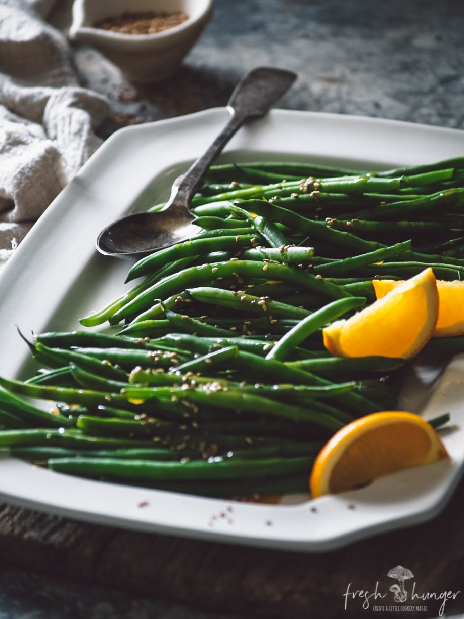 green beans in marmalade ginger butter