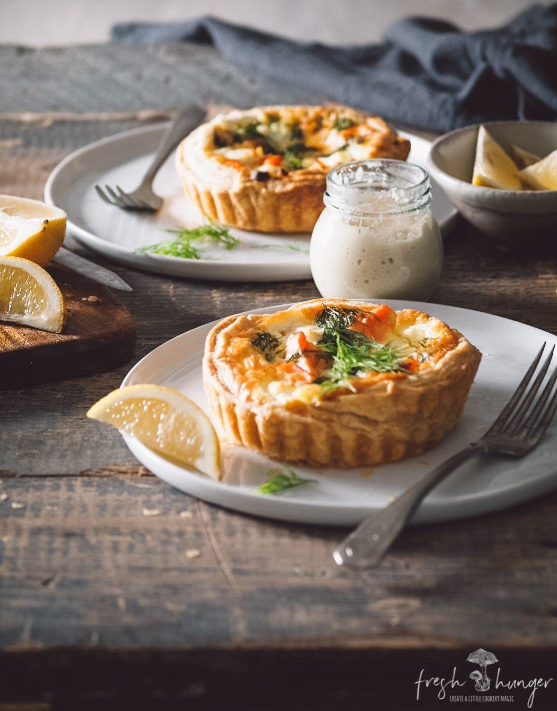 salmon, leek & ricotta tarts