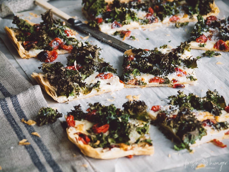ROASTED TOMATO, KALE & 3-CHEESE PIZZA