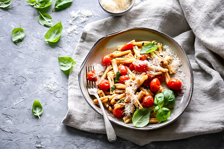 Herb Buttered Pasta with Sweet Blistered Tomatoes