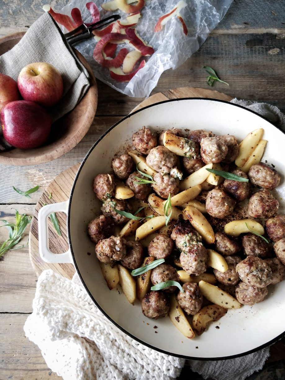TARRAGON BUTTER PORK AND APPLE MEATBALLS