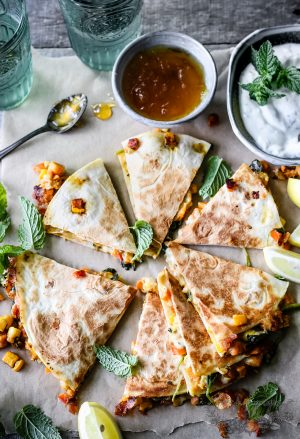 curry veggie quesadillas
