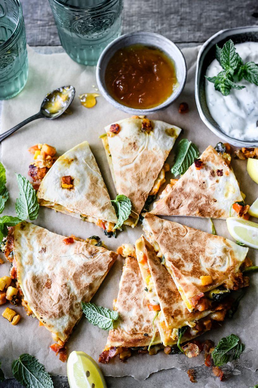 curry veggie quesadillas