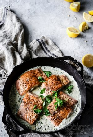 Creamy Lemon Herb Caper Salmon