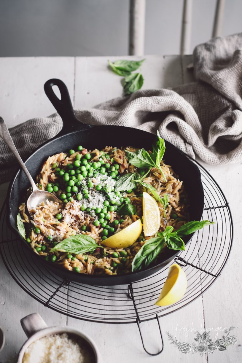 ONE PAN PEA AND PANCETTA PASTA