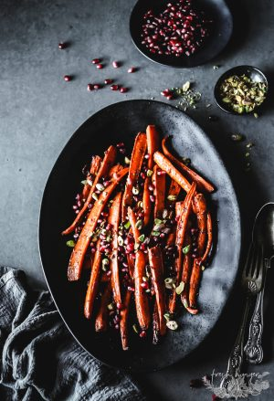 HARISSA POMEGRANTE ROASTED CARROTS