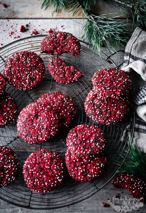 RED VELVET SPRINKLE COOKIES