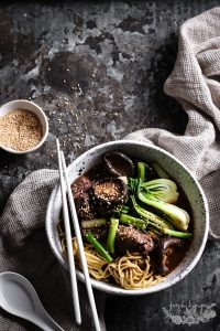SLOW COOKED MISO BEEF WITH NOODLES