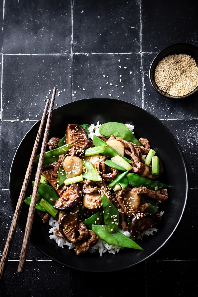 HOISIN BEEF, SNOW PEA AND WATER CHESTNUT STIR-FRY